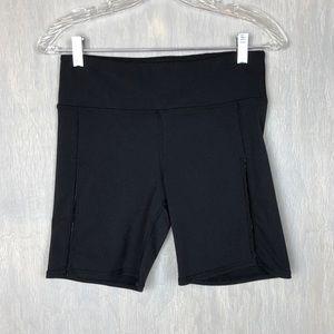 Alo yoga bike shorts sheer stripe M black